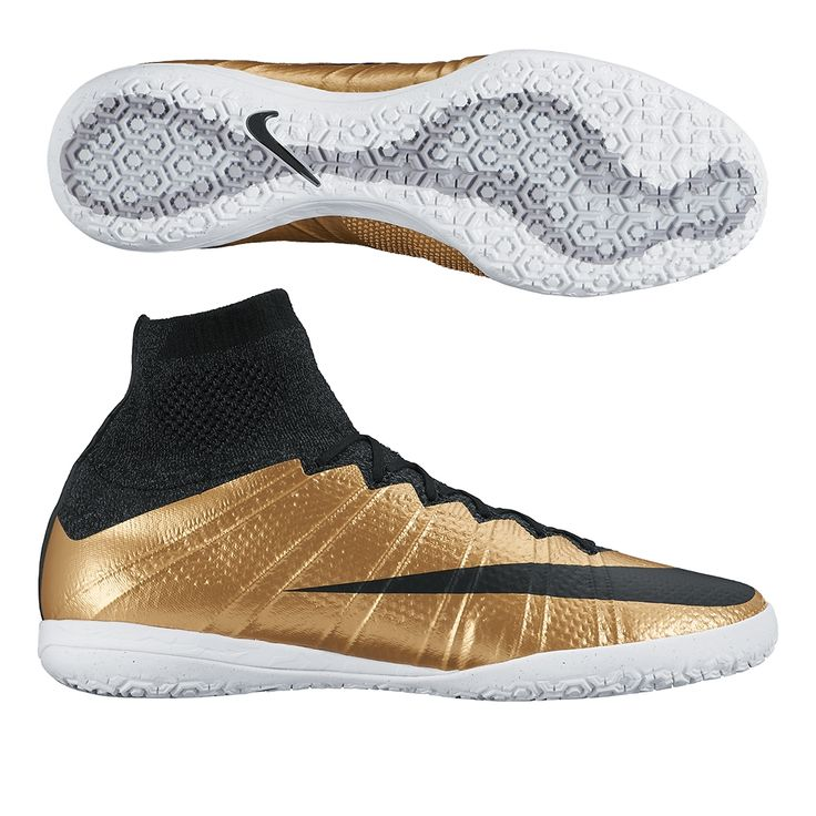 If your speed will win you the gold, get your shoes to match. The golden Nike MercurialX Proximo indoor soccer shoes are a dream for players who only want speed. Order your indoor soccer shoes at SoccerCorner.com. http://www.soccercorner.com/Nike-MercurialX-Proximo-Street-IC-Indoor-Soccer-Sh-p/si-ni718774-206.htm