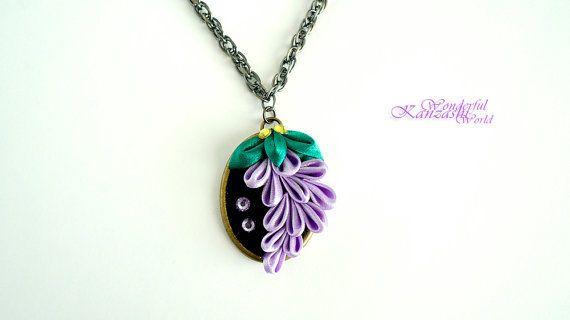 Purple Grape Tsumami Kanzashi Fabric Flower by wonderfulkanzashi