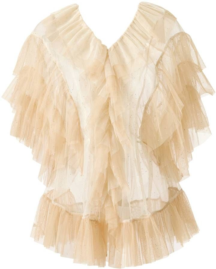 SUPERSWEET x moumi - Tulle Blouse in White & Beige