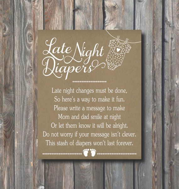 Printable Late Night Diapers Sign-Baby Shower Game-Diaper Thoughts-Late Night Diapers Sign 8x10-Rustic Kraft Sign-Instant Download-LND2