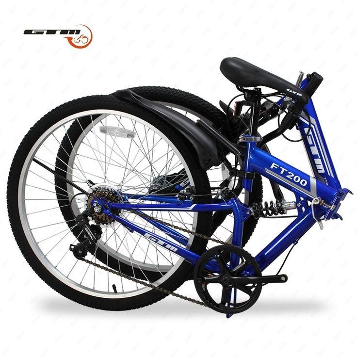 "26"" Folding Blue Mountain Bike 7 Speed Bicycle Shimano Hybrid Suspension Sports"