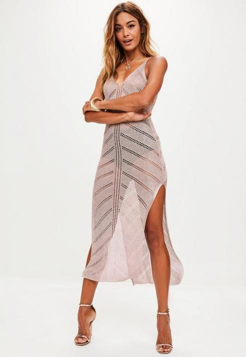 Missguided Rose Gold Metallic Distressed Knit Dress