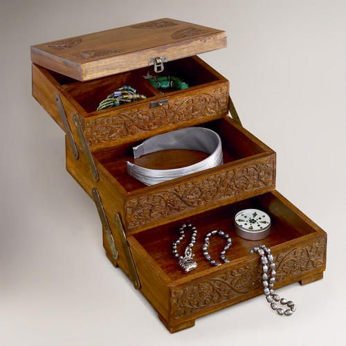 One of my favorite discoveries at WorldMarket.com: Tiered Carved Wood Jewelry Box