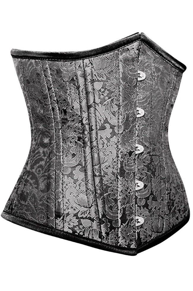 Midjekorsett för träning av midjan i silverfärgat kraftigt brokad tyg | KORSETTEN.se