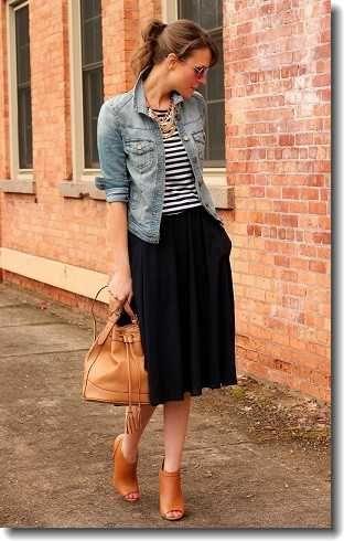 Midi skirt and denim jacket.