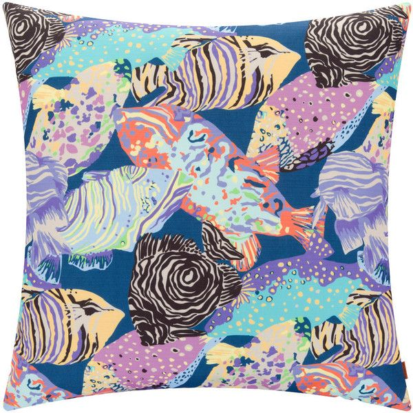 Missoni Home Salalah Cushion - 160 - 60x60cm (£226) ❤ liked on Polyvore featuring home, home decor, throw pillows, multi, missoni home, tropical throw pillows, inspirational throw pillows, colorful home decor and blue home decor