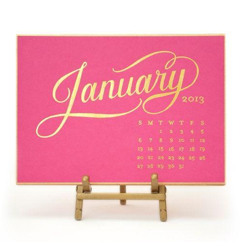 Super cute business gift idea sugar paper kate desk calendar 2014 raspberry and gold