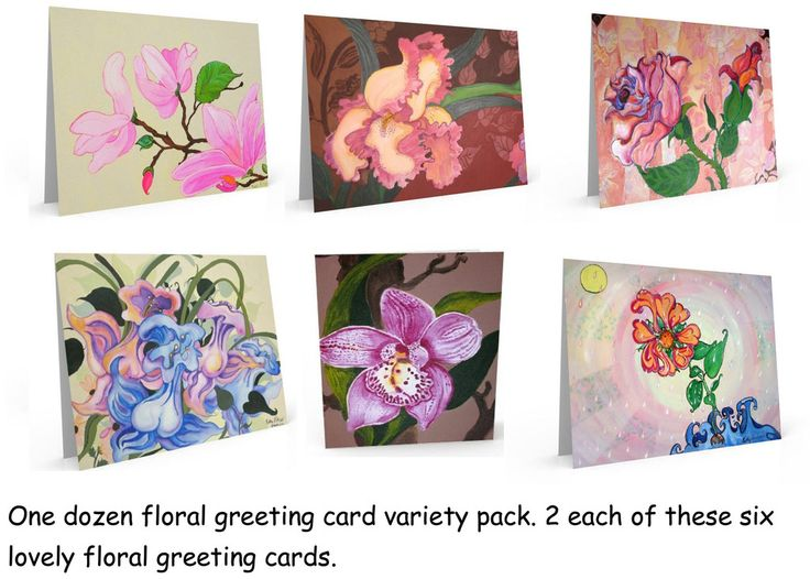 One dozen floral greeting cards