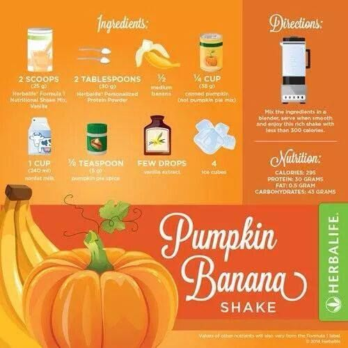 Pumpkin banana Herbalife shake.  Happy Halloween, Herbalifers! Run out of Formula 1? Order yours here: https://www.facebook.com/ChrisDietCoach