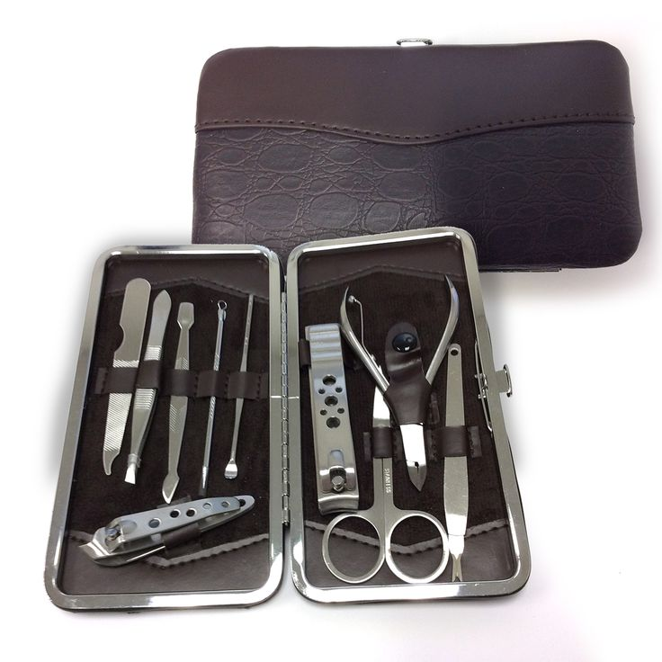 Personal Edge : Penusa MC-LT15-4 11-Piece Manicure Set with Snap Closure - Cocoa