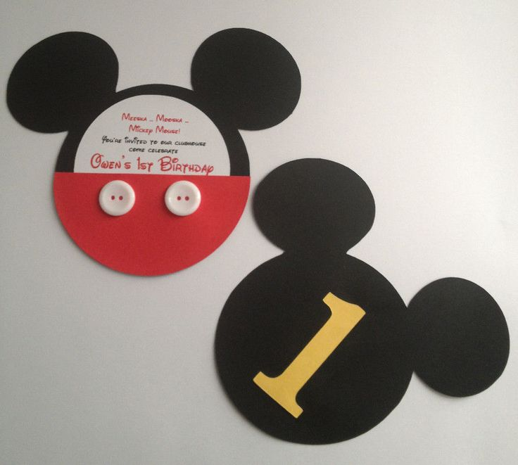 Handmade Mickey Mouse Invitations