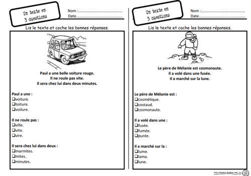 Un texte 3 questions lecture compr hension cp choix - Effroyables jardins questionnaire de lecture ...