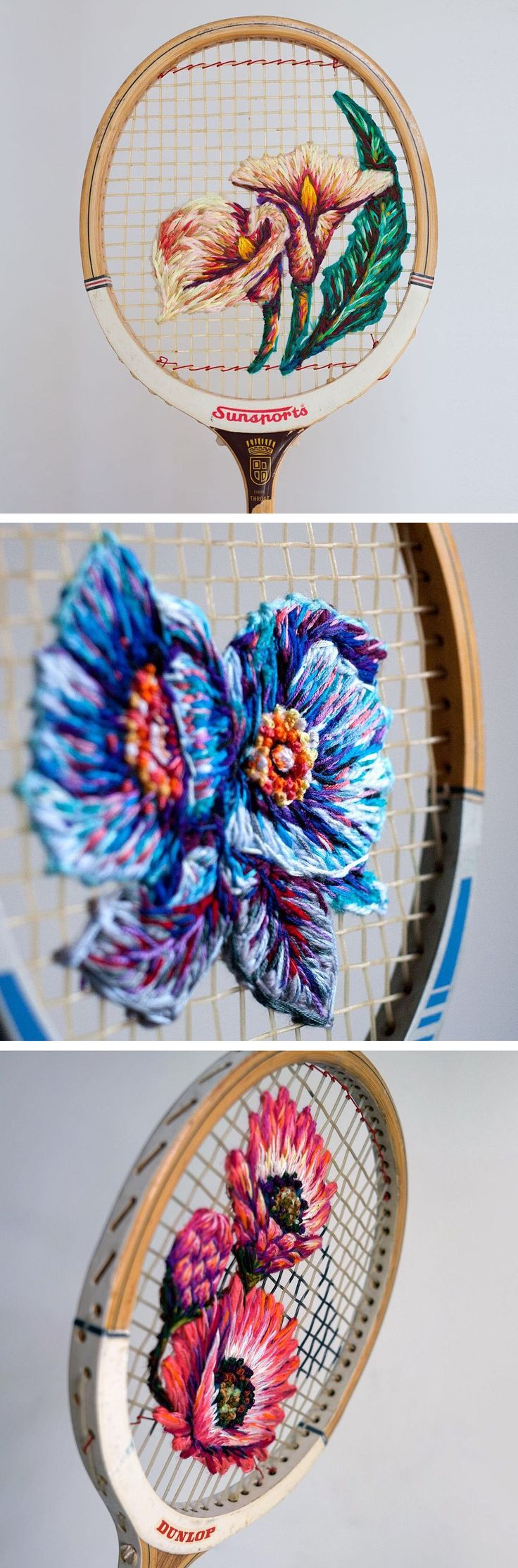 Danielle Clough embroidery on vintage sports racket