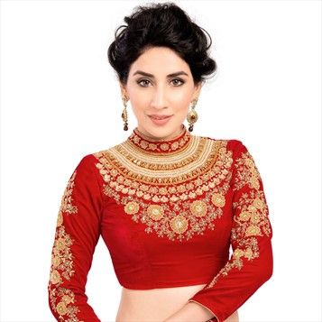 Pair this Bright #Red High #Collar Trendy #Blouse with almost anything to Up the #Style ! 16032 Red and Maroon  color family Blouse in Velvet fabric with Machine Embroidery, Stone, Zari work .  #Blouse #Lehenga #saree 3croptop #Designerblouse #Choli