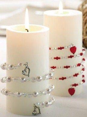 Velas decoradas com coração