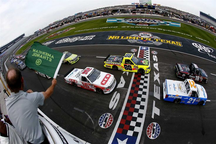 At-track photos: Pocono and Texas weekend  Sunday, June 11, 2017  FORT WORTH, TX - JUNE 09: Noah Gragson, driver of the #18 Switch Toyota, and Johnny Sauter, driver of the #21 Allegiant Travel Chevrolet, lead the field at the start of the NASCAR Camping World Truck Series winstaronlinegaming.com 400 at Texas Motor Speedway on June 9, 2017 in Fort Worth, Texas.  Photo Credit: Photo by Sean Gardner/Getty Images  Photo: 89 / 103
