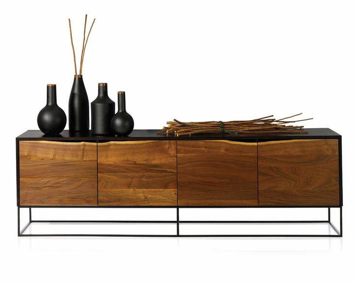 Scott McGlasson, Rustic Modern credenza, 2007; ash, walnut, steel; 2 x 7 x 1.7 ft. Boiler, bottle, and beaker vases, turned from ash and finished with walnut top rings sit on top. Photo: Rau+Barber