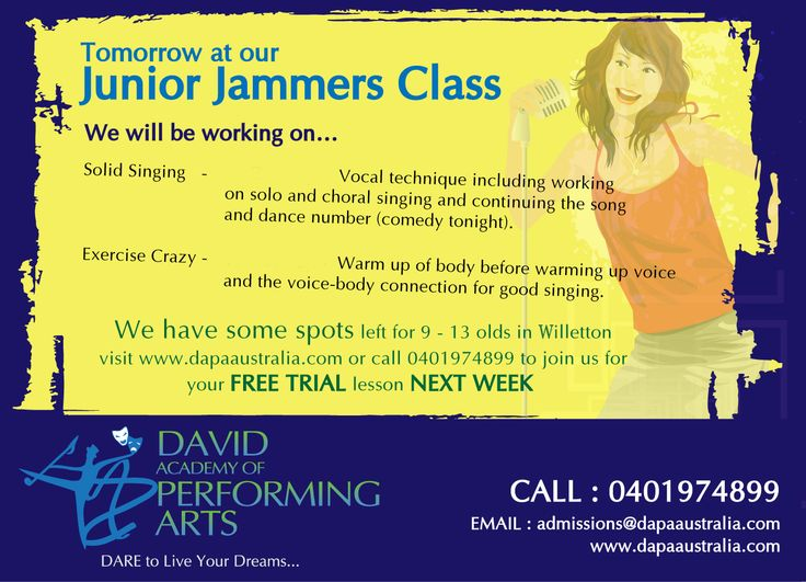 Tomorrow at our Junior Jammers Class.