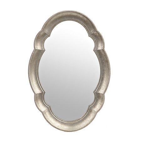Silver Scalloped Oval Mirror | Kirklands $40