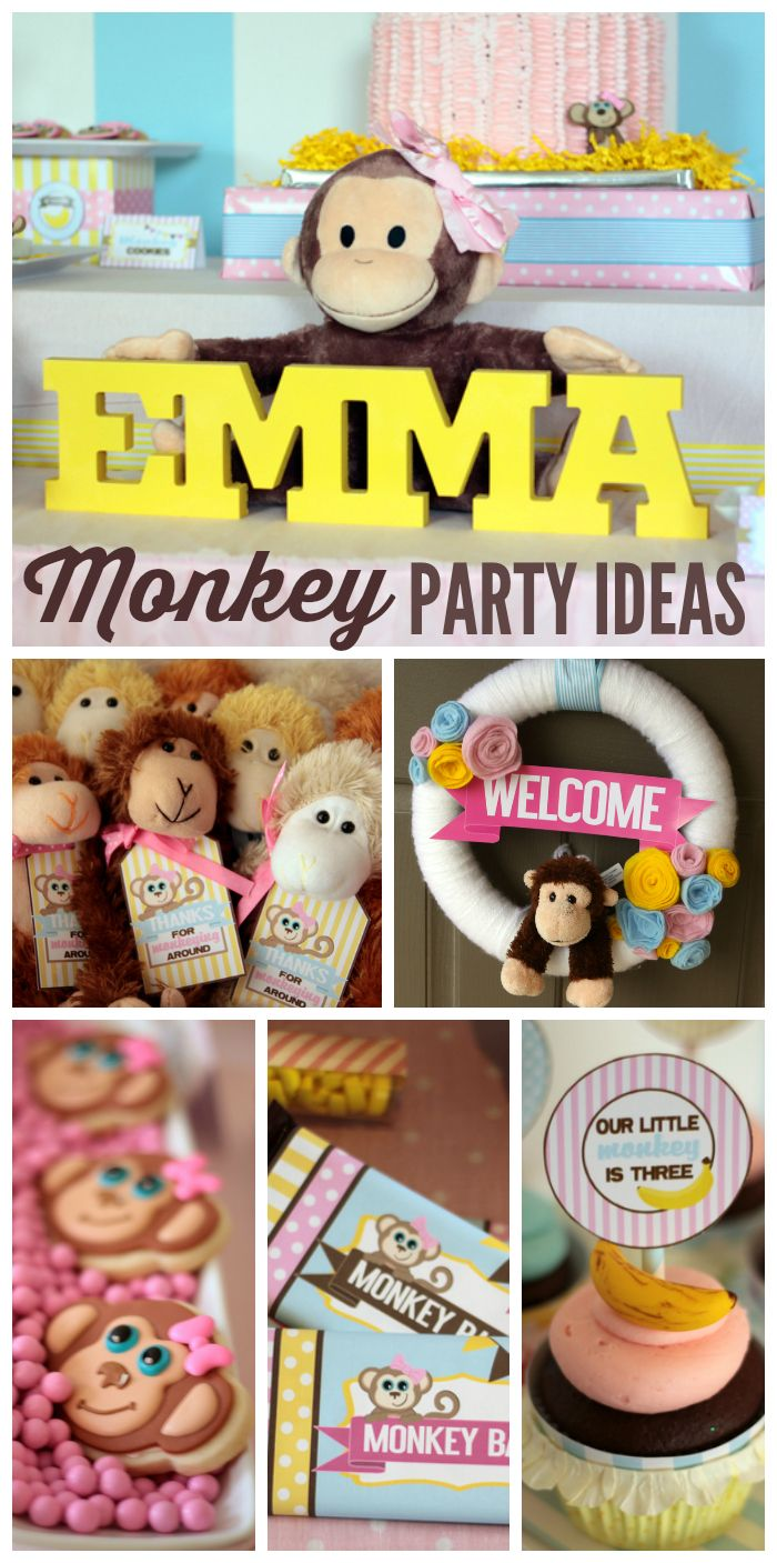 You've got to see this adorable monkey girl birthday party with bananas, monkeys and more!  See more party ideas at CatchMyParty.com!