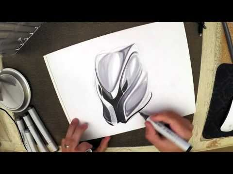 Copic sketching - Cyborg helmet with copic markers