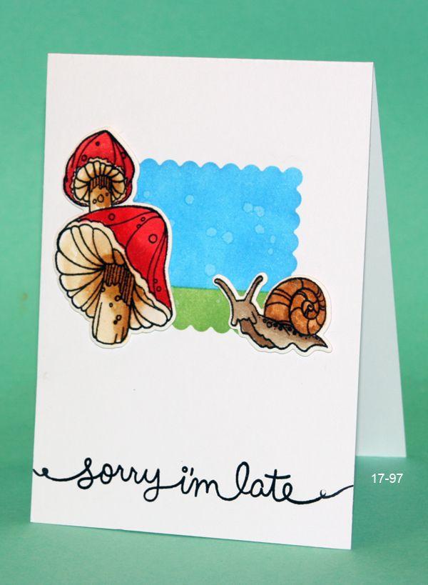 Spellbinders Snail set, Distress inking, Lawn Fawn sentiment from Gleeful garden
