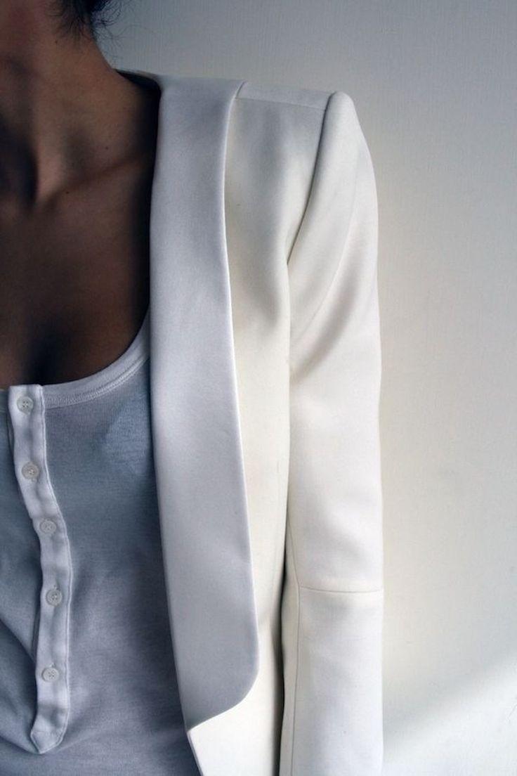 white blazer and top