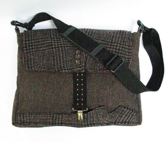 Messenger Style Laptop Bag Chocolate Brown Plaid And Tweed