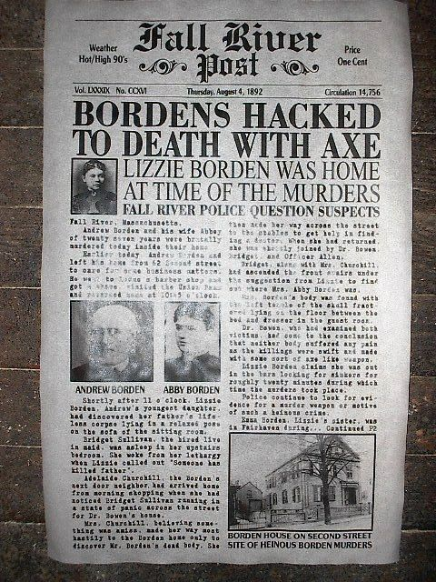 fall river axe murders In 1892, abby borden was brutally murdered in her home in fall river,  massachusetts shortly thereafter her husband andrew borden was also.