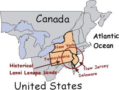 [Map of United States Showing Lenni Lenape Region]