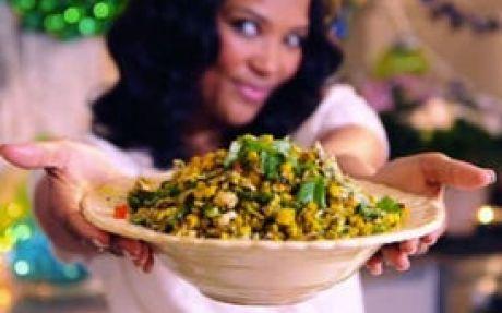 Siba's Braaied Corn Salad with Basil Pesto Dressing Recipe by Siba Mtongana : Food Network UK