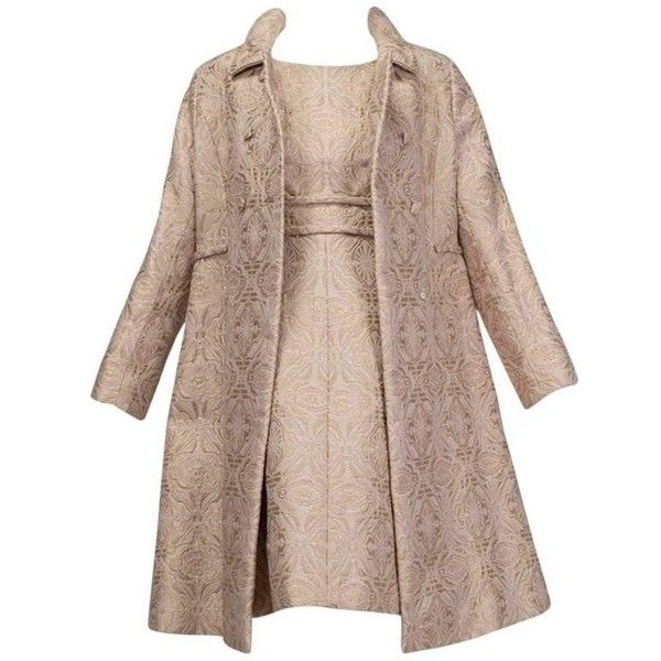 Preowned Pink And Gold Jacquard A-line Dress And Coat Set With... ($1,000) ❤ liked on Polyvore featuring dresses, pink, suits, rose gold dresses, sleeveless a line dress, sleeveless dress, brown dresses and gold dresses