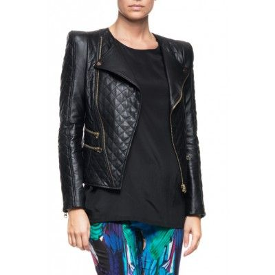 By Malina - Jade Quilted Leather Jacket Black - Kotyr.com