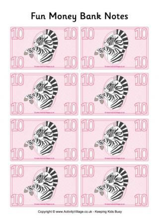 Fun Money Banknotes for Visual Allowance Tracking