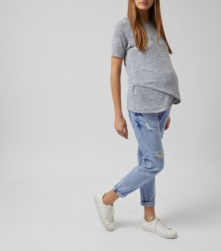 Maternity Light Blue Ripped Boyfriend Jeans