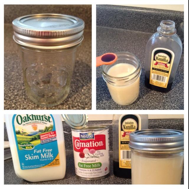 Home-made fat-free coffee creamer! Half milk, half evaporated milk, 1/2 tsp of vanilla extract #nomnom