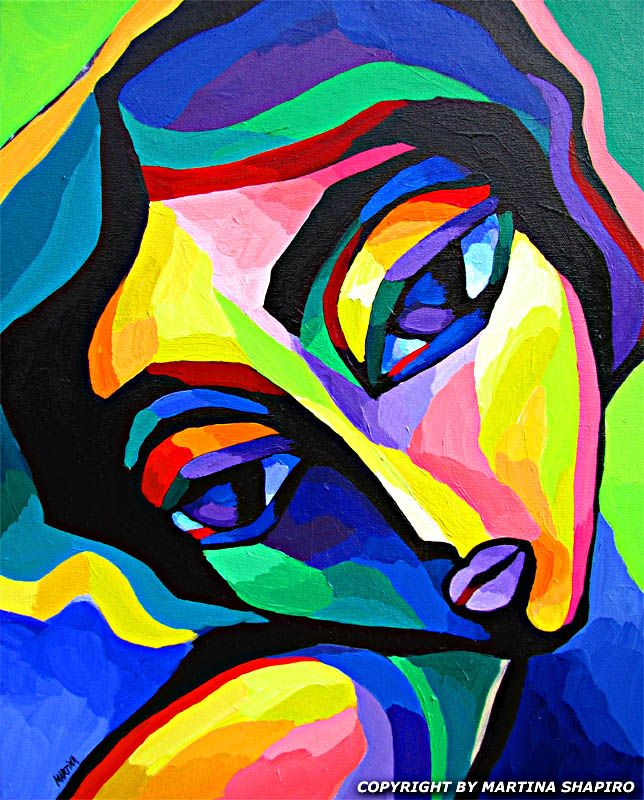 Dreamy Fauve Girl original contemporary acrylic painting by artist Martina Shapiro, abstract female figure