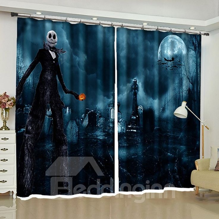 Halloween Decoration Cold Foggy Night Dramatic Full Moon and Ghost Printed Curta…