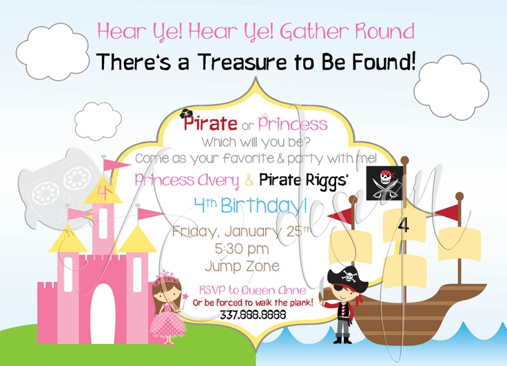 Pirate and Princess Birthday Party Invitations DIY by ALBCDesigns, $15.00