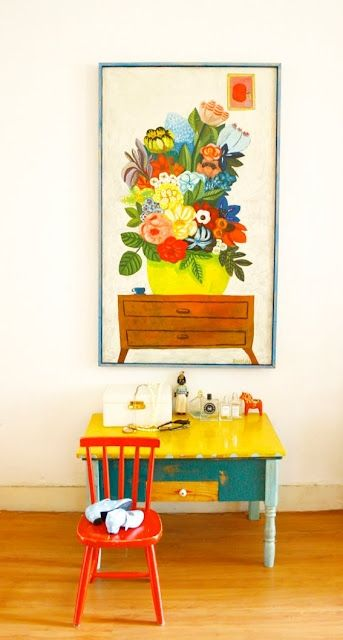 www.prettylittlethings    Artisan, colourful kid's desk and chair with big floral picture