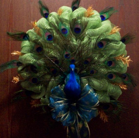 Handmade peacock deco mesh wreath beautiful by CraftyTrends, $69.99