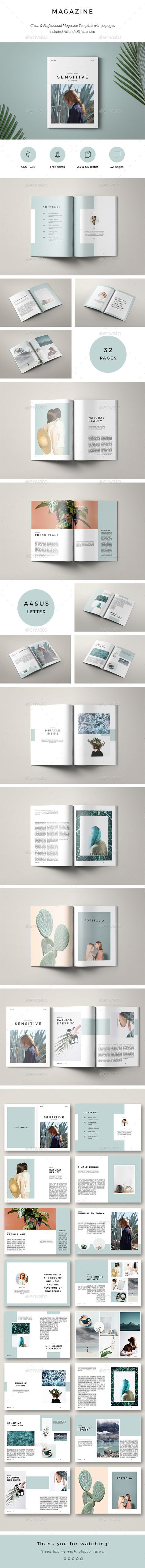 Sensitive Minimal Magazine — InDesign INDD #graphic design #marketing • Download ➝ https://graphicriver.net/item/sensitive-minimal-magazine/19762422?ref=pxcr