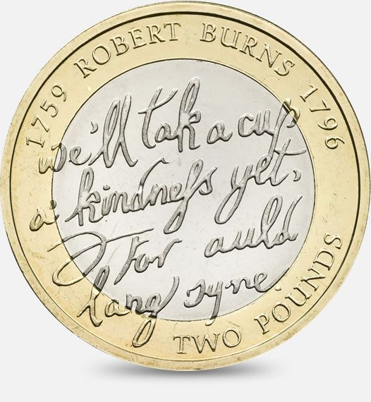 1983 £1 coin commemorating the 250th Anniversary of the birth of Robert Burns http://www.royalmint.com/discover/uk-coins/coin-design-and-specifications/two-pound-coin/2009-robert-burns
