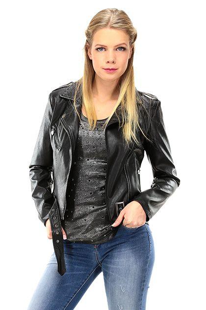 Twin Set Jeans - Giacche - Abbigliamento - Giacca in ecopelle con tasche sul davanti con zip. Fibbia sul fondo regolabile e chiusura con cerniera. Foderata. - NERO - € 158.00