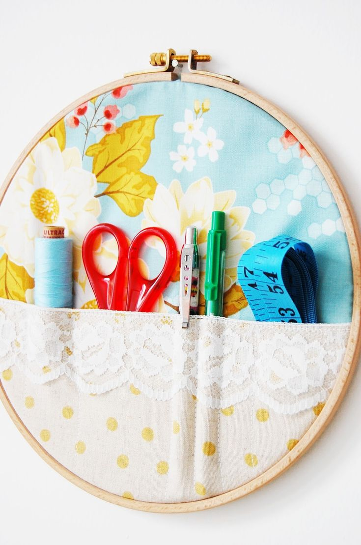 Add pockets to an embroidery hoop for a cute orgnanizational idea. Could customize it for any room in your home, including your sewing and/craft room.