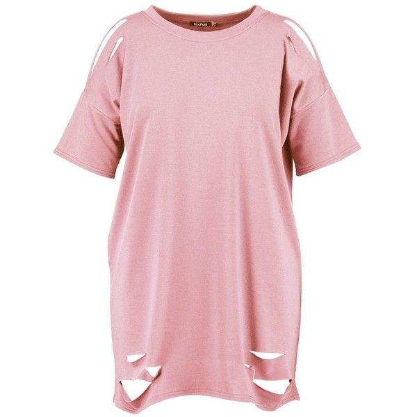 Boohoo Plus Faith Distressed T-shirt Dress | Boohoo ($21) ❤ liked on Polyvore featuring dresses, t shirt dress, torn dress, pink t shirt dress, tee shirt dress and t-shirt dresses