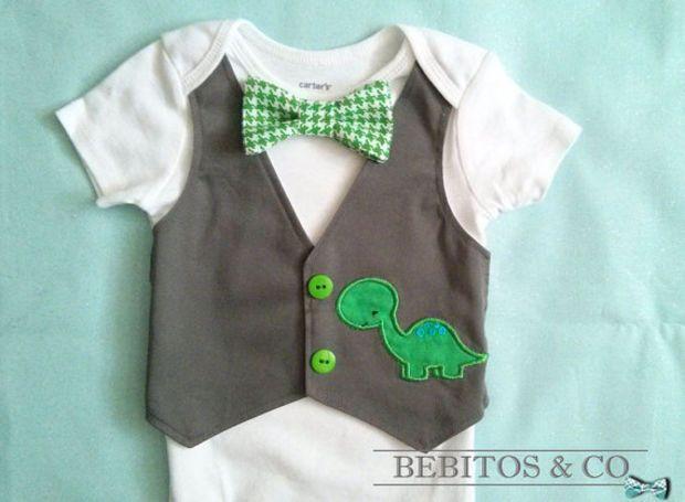 Baby Boy Vest Bodysuit - Dinosaur Vest Bodysuit - Boys gray vest bodysuit - First birthday outfit.