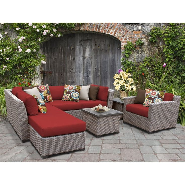 Best Meeks 8 Piece Rattan Sectional Seating Group With Cushions 400 x 300