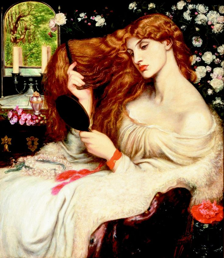 Lilith by Rossetti. With her looking glass she drew them all in.