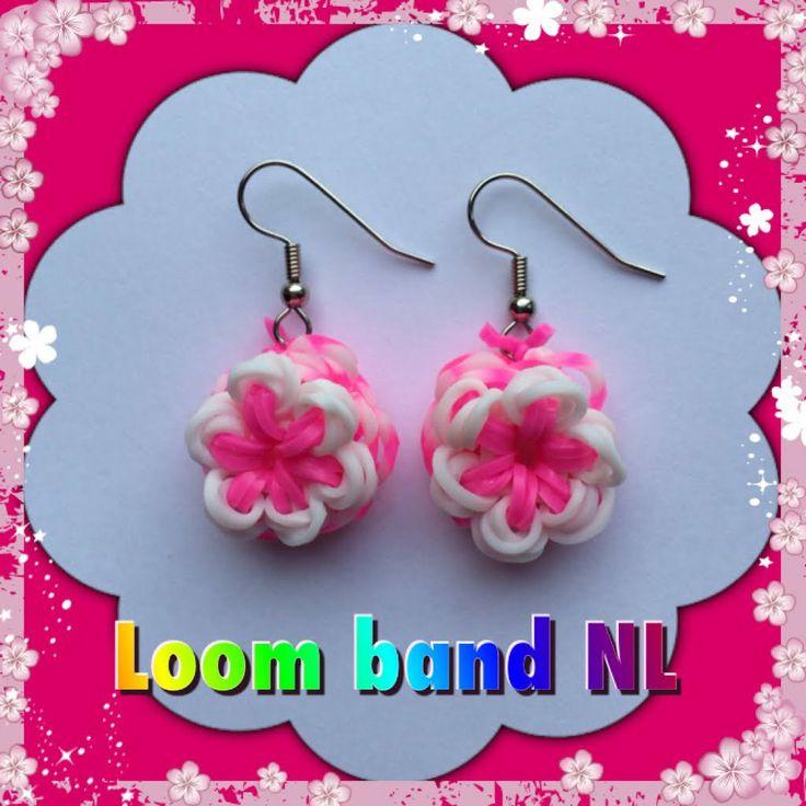 Simpele bloem! Rainbow Loom band bloem oorbellen van elastiekjes